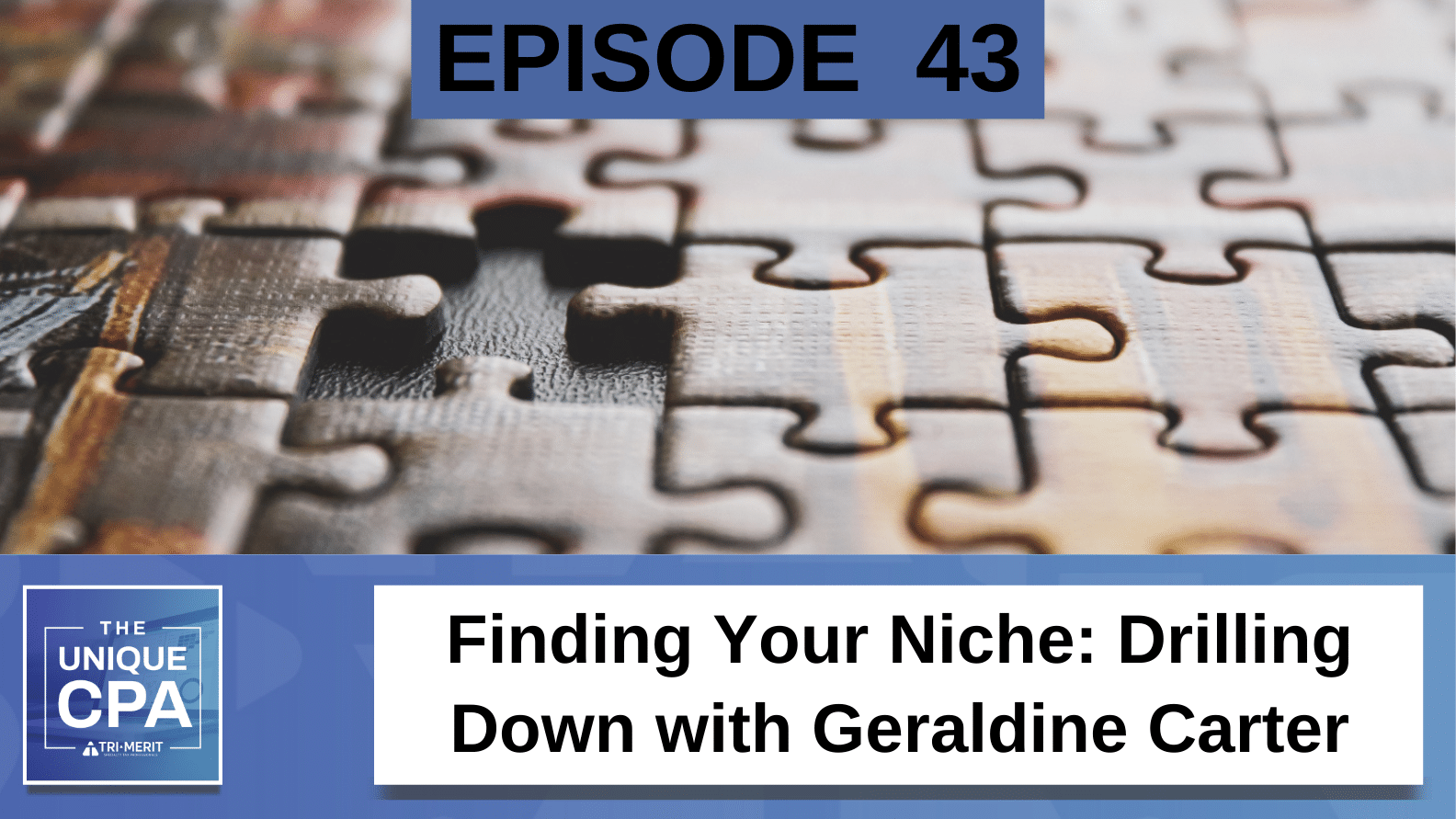 Unique CPA Featured Image Ep 43 Geraldine Carter - Finding Your Niche - Tri-Merit